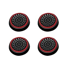 Insten [2 Pair / 4 Pcs] Wireless Controllers Silicone Analog Thumb Grip Stick Cover, Game Remote Joystick Cap for PS4 Dualshock 4/ PS3 Dualshock 3/ PS2 Dualshock/ Xbox One/ Xbox 360, Black/Red