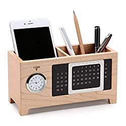 Pencil Pen Holder Perpetual Calendar Clock Wooden Double Pen Holder Multi-function Large Capacity Makeup Brush Storage Bucket Desktop Supply Organizer ( Color : Maple , Size : 17x7.3x9.7cm )