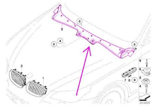 - BMW e60 e61 Windscreen Wiper Motor Covering GENUINE