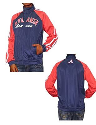 Womens MLB Atlanta Braves Zip-Up Track Jacket with Embroidered Logo
