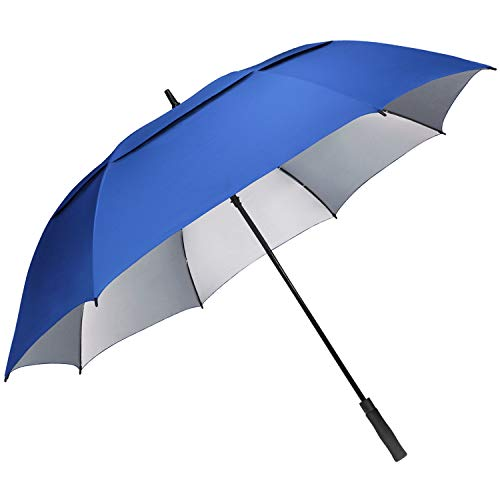 G4Free 68 inch Oversize Windproof Automatic Open Golf Umbrella Double Canopy Vented Waterproof Large UV Sun Protection Stick Umbrellas (Sapphire)