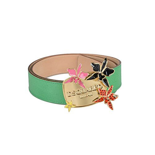 [Dsquared Women's Bright Green Snake Skin Buckle Decorated Belt Size M US 32-34] (Dsquared2 Womens Buckle)