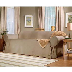 Sure Fit Cotton Duck - Loveseat Slipcover  - Linen (SF26665)