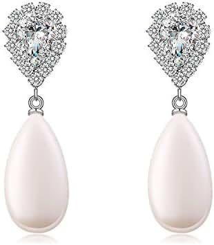 Paxuan Womens Silver Plated Shell Pearl Pierced Wedding Bridal Teardrop Pearl Crystal Drop Dangle Earrings Jewelry Hypoallergenic