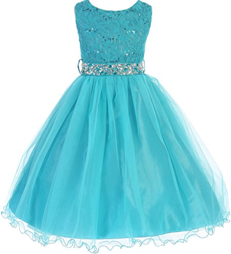 BNY Corner Big Girl Glitters Sequined Bodice Double Layer Tulle Rhinestones Sash Flower Girl Dress Teal 8 JK3670