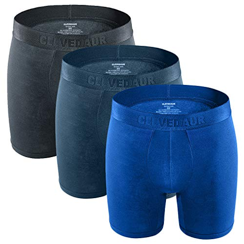 Mens Boxer Briefs Soft Stretch Micro Modal Men's Underwear Light Comfortable Boxer Briefs with Pouch Grey/Navy/Blue-S (3 Pack)
