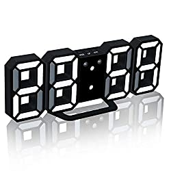 LED Digital Alarm Clock with Night Light, Modern Home Decoration 3D Wall Clock/Mounted/Desk, Adjustable Brightness, Loud Alarm and Snoozefor Home Bedside Office School (Black Frame, White Light)