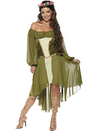 2 PC Women's Woodland Magical Fairy Green Dress & Hair Wreath Party Costume