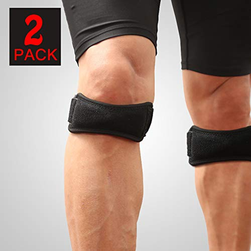 Bealatt 2 Pack Patellar Tendon Support Strap, Knee Pain Relief with Silicone Adjustable Knee Band, Knee Brace Stabilizer for Running, Hiking, Soccer, Basketball, Jumpers Knee, Tendonitis, Volleyball