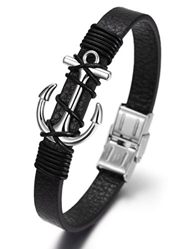 Men's Anchor Wrap Black Leather Bracelet with Stainless Steel Clasp 8.5 Inch(21cm) (White)