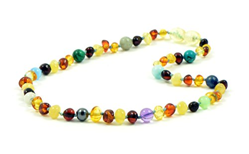 Amber Mix - Amber Teething Necklace for Baby - Unisex - 12.6 - 14.1 inches (32cm) - Amber Jewelry - Hand-Made from Certified Baltic Amber Beads (14.1 inches (36 cm), Amber / Mix Gemstones)