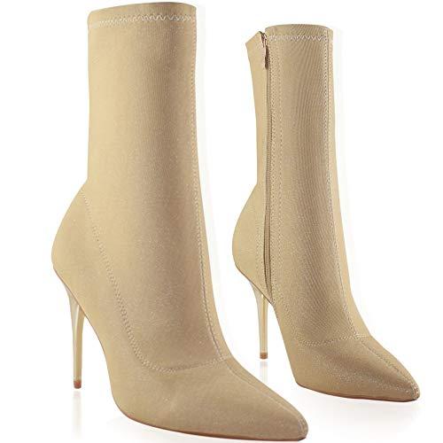 Vivi Women Gold and Brown Sparkling Sequins Allover Glitter Stretch Lycra Stiletto High Heels Booties Size 10 ()