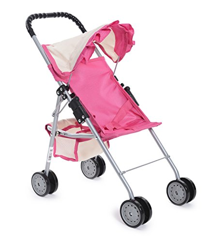 Exquisite Buggy, My First easy Foldable Doll Stroller Pink & Off-White with Basket in the bottom