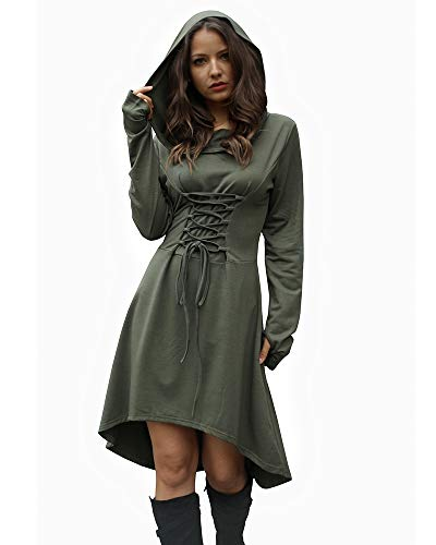 Jeanewpole1 Womens Halloween Wizard Costumes Hooded Robe Lace Up High Low Hem Long Hoodie Dress (Large, Army Green) ()