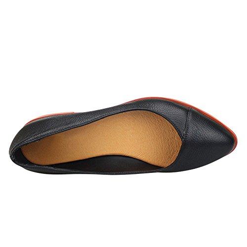 Fereshte Damesschoen Comfortabele Slip Op Leren Ballerinas 1228.zwart