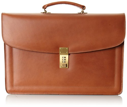 - Jack Georges [Personalized Initials Embossing] Belting Double Gusset Leather Briefcase w/Combination Lock in Tan