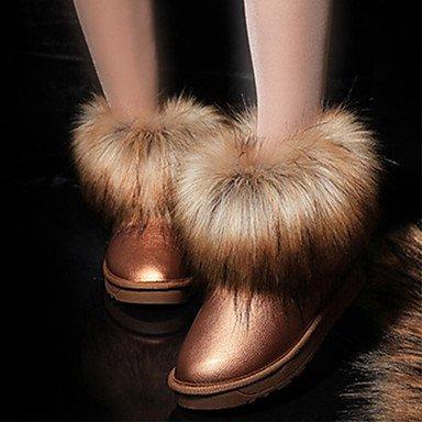 RTRY Zapatos De Mujer Otoño Invierno De Cuero De Nubuck Forro Pelusas Comfort Novedad Botas De Nieve Botas De Moda Botas De Tacón Plano Ronda Toe Botines/Tobillo. US8.5 / EU39 / UK6.5 / CN40