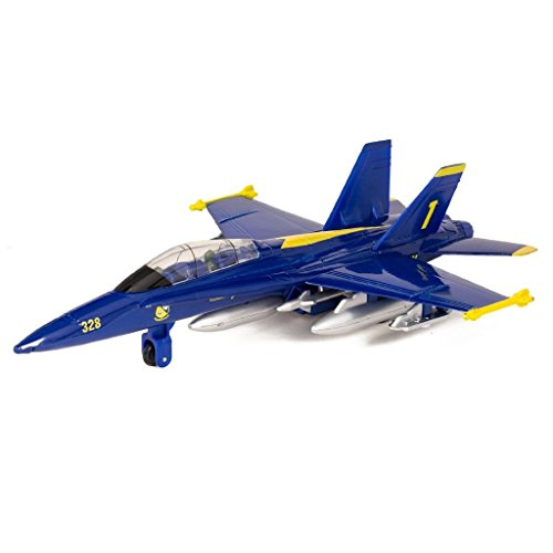 "9"" X-Planes US Navy F-18 Hornet Blue Jet Toy with Pull Back"