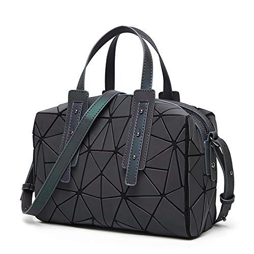 (Women Geometric Holographic Luminesk Purses Satchels Bags Reflective Handbags Medium Boston Bag)