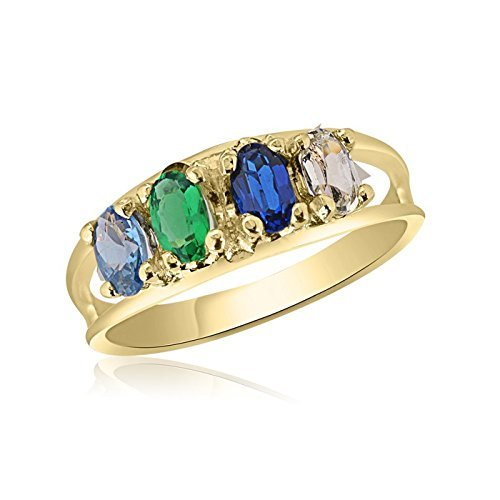 - 10K Yellow Gold Oval Stone Ring - 4 Birthstone Family Ring