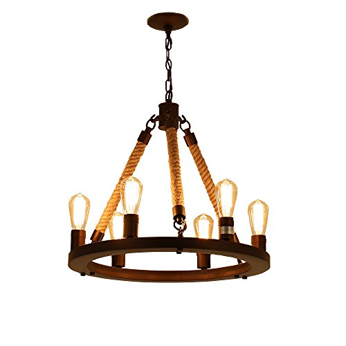 Six Light Chandelier Lamp - Sincoco Chandelier Spot Light Decoration Fixture,Vintage Rope Chandeliers 6-light Pendant Lamp For E26/E27 Base Bulbs