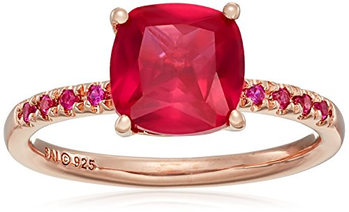 Sterling Silver with Rose Gold Plating Created Ruby Ring, Size - Ruby Roses