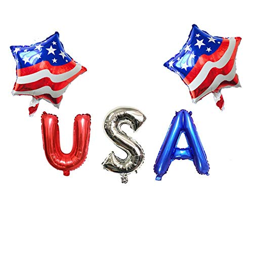 D.Roc The Stars and The Stripes Foil Balloons Letter's USA Air Globos Independence Day Decorations USA Party Supplies Birthday ()