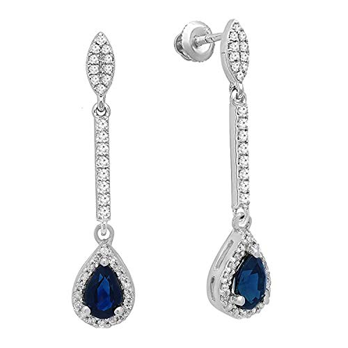 Dazzlingrock Collection 10K 5X3 MM Pear Blue Sapphire & Round Diamond Ladies Halo Style Dangling Drop Earrings, White Gold ()