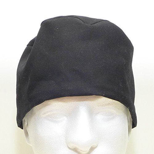 Men's Scrub Hat Cap, Handmade in USA, Black with Bamboo French Terry Interior