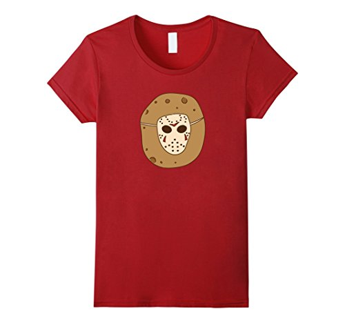 Womens Friday 13th Jason T-shirt Halloween Meme Potatoes Voorhees Large Cranberry ()