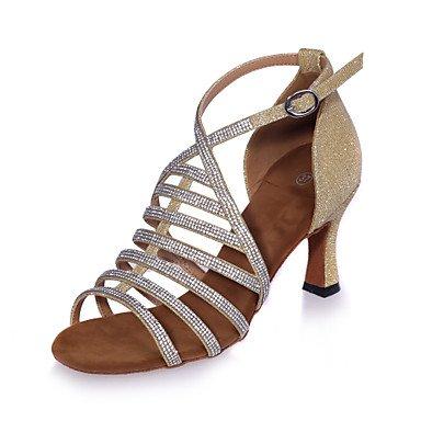 XIAMUO Nicht anpassbar - Die Frauen tanzen Schuhe funkelnden Glitter funkelnden Glitter Latein Sandalen abgefackelt HeelPerformance/Praxis/Professional/, Schwarz, EU/US7.5 38/UK5.5