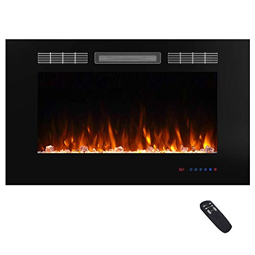 Valuxhome 36 Inches Fireplace Recessed, Insert Electric Fireplace Heater with Remote, Timer, Thermostat, Crystal and Logset, Black (Electric Fireplace Insert 36 Inch)