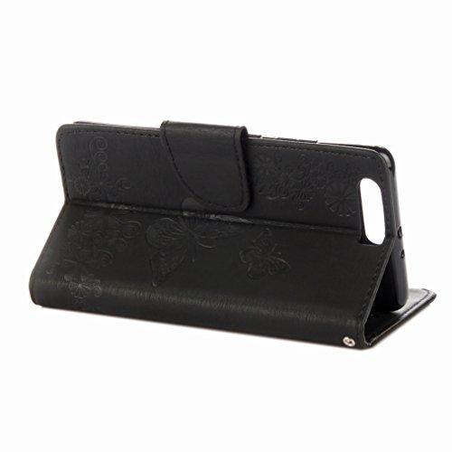 Yiizy Huawei P10 Plus Custodia Cover, Farfalla Fiore Design Sottile Flip Portafoglio PU Pelle Cuoio Copertura Shell Case Slot Schede Cavalletto Stile Libro Bumper Protettivo Borsa (Nero)