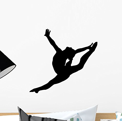Gymnastics Silhouette Style Graceful Wall Decal by Wallmonkeys Peel and Stick Graphic (12 in W x 11 in H) WM54227