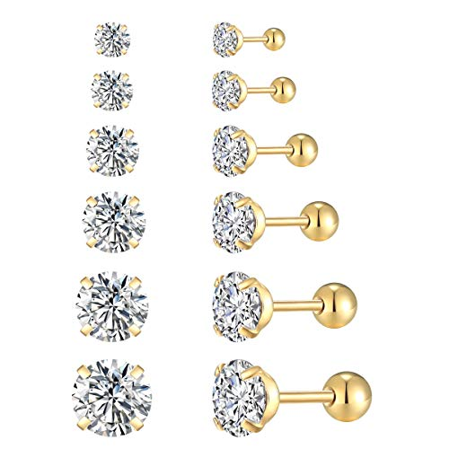 FOSIR 6 Pair 18G Stainless Steel Stud Earrings for Men Women Cartilage Ear Piercings Cubic Zirconia Inlaid 3-8mm ()