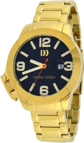 Danish Design #IQ06Q915 Men's Gold IP Stainless Steel Black Dial Lefty Analog Watch