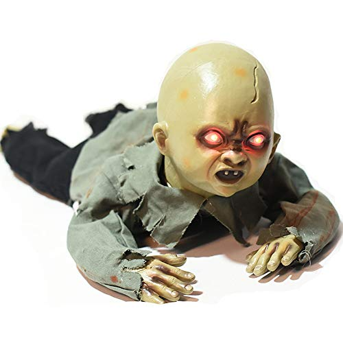 Halloween Decorations, Binocular red Flashing Electric Ghost Doll, Touch Voice-Activated Sensation Crawling Ghost Doll, bar Haunted House Secret Room Decoration Props ZDDAB -