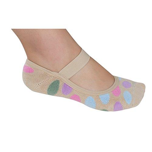 Lupo Women's Dots Terry No Show Yoga Pilates Slipper Grip Socks, Medium Beige