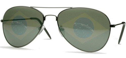 Classic Rounded Aviators Style Designer Inspired Sunglass - Brazil Flag - Wayfarer Inspired