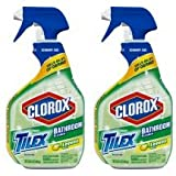 Tilex Clorox Plus Bathroom Cleaner, Spray Bottle, Lemon Scent, 32 Ounces (Pack of 2) (Packaging May Vary)