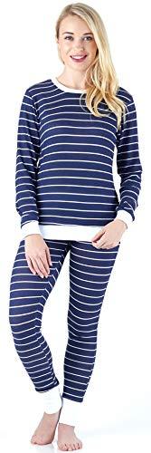 (Sleepyheads Women's Sleepwear Long Sleeve Soft & Cozy Striped Knit 2-Piece Pajama Set, Navy & White Stripe (SH1138-5018-LRG) )