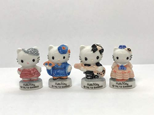 (Hello Kitty in Costumes Geisha, Princess, Southern Belle, Rocker, Dollhouse Miniatures Porcelain French Feves)