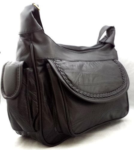The Premium Leather Company, Borsa a spalla donna Nero nero
