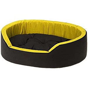 Gorgeous Soft Reversable Dual Bed for Dog and Cat (Yellow-Black, Small)