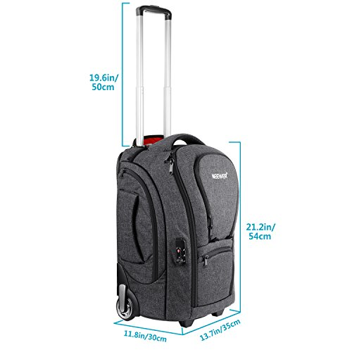 Neewer 2-in-1 Camera Rolling Backpack Trolley Case with TSA Lock, Anti-Shock Detachable Padded Compartment, Hidden Pull Bar, Durable, Waterproof for Lens, Lens Hood, and Tablet (Grey/Red) by Neewer (Image #1)