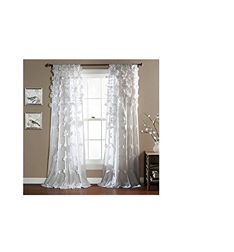 Lush Decor Riley Window Curtain, 84 by 54-Inch, White