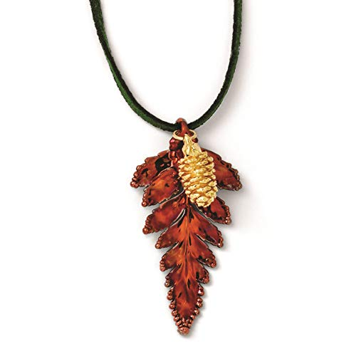 Venture Roses & Leaves Collection Iridescent Copper Fern Leaf & 24k Gold Dipped Pine Cone Necklace w/Leather Cord 20