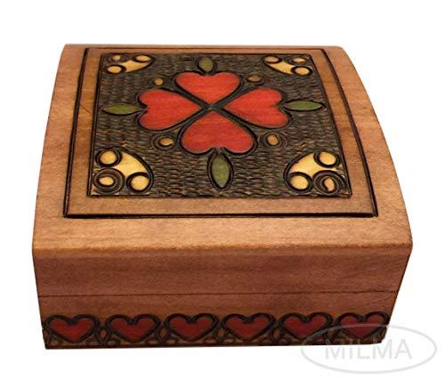 - MilmaArtGift Heart Box Small Elegant Wooden Jewelry Box Polish Linden Wood Handmade Keepsake