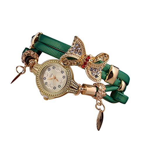 Women Girl Vintage Watches, Bracelet Wristwatches Leaf Pendant (Green)
