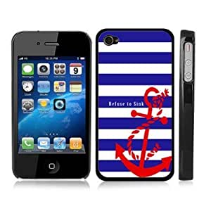 Blue and White Stripe Anchor Refuse to Sink Sailor Sea Life Snap-On Cover Black Hard Carrying Case for iPhone 4/4S